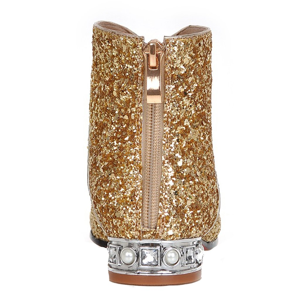 ENMAYER Women's Charming Sequins Style Mid Block Heel Ankle Boots B01IJQ4DEU US 8.5 =CN40=Foot Length 25cm|Gold