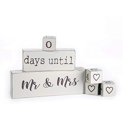 Lillium Wedding Day Countdown Calendar Block Sign Counting Down Days Until Mr Mrs Wooden Engagement Gift Set For Engaged Couples Bride To Be