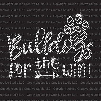 Bulldogs Sports Team Mom Mascot Rhinestone Hot Fix Iron On Transfer
