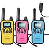 SOCOTRAN 3 Pack Walkie Talkies, PMR446 8 Canales Recargable Walkie Talkie para Niños y Adultos, 3KM de Larga Distancia…