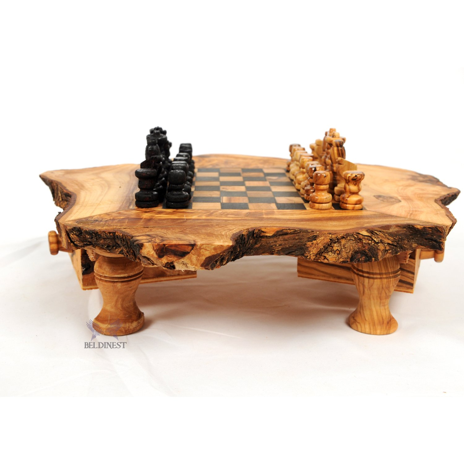 Amazon Olive Wood Rustic Chess Set Handcrafted Chess Game