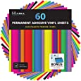 "Kassa Permanent Vinyl Sheets (Pack of 60-12"" x 12"") - Includes Bonus Squeegee - Matte & Glossy Assorted Colors Bundle - Self Adhesive Vinyl Paper - Works with Any Die Cutting Machine"