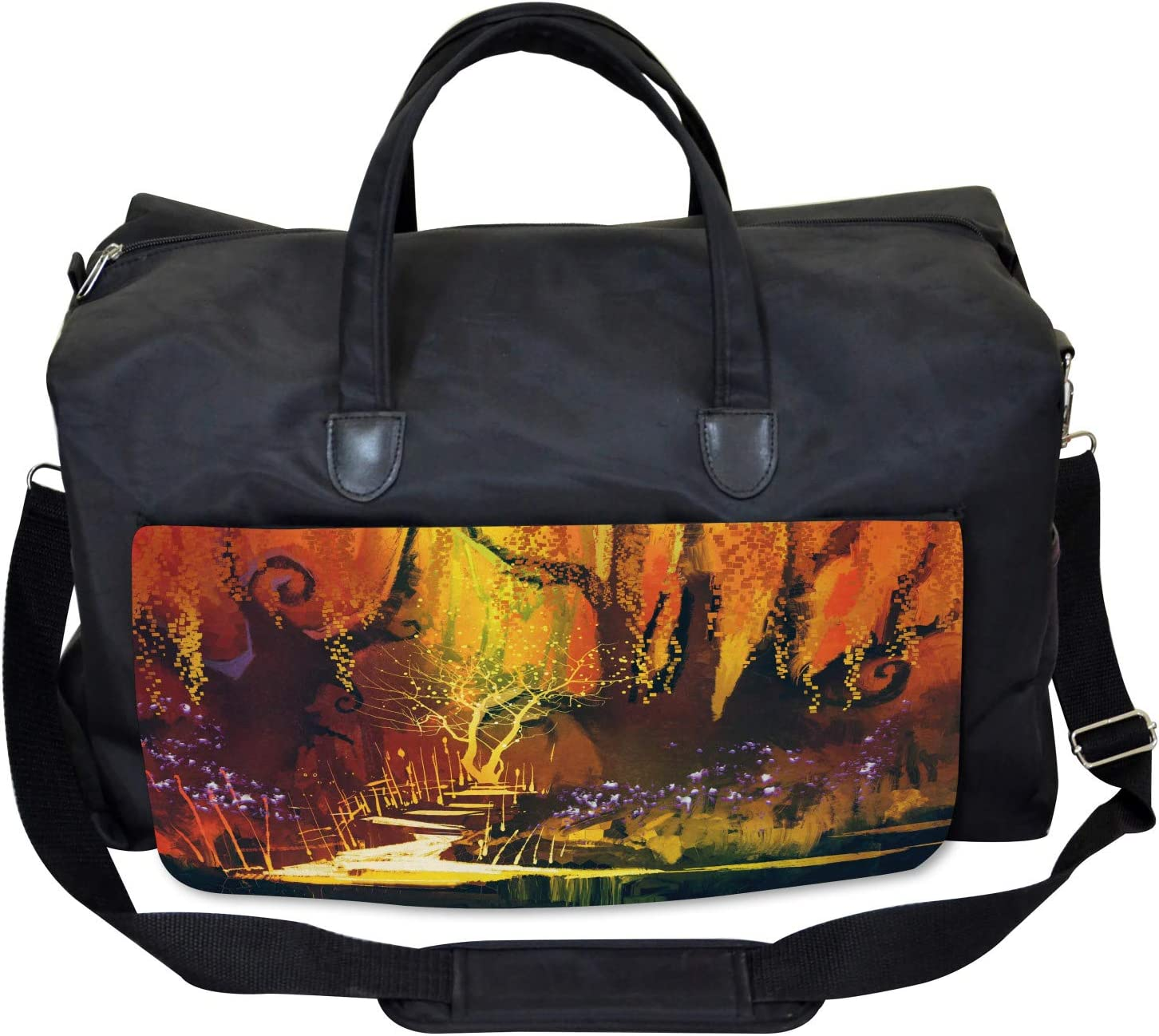 Large Weekender Carry-on Ambesonne Scenery Gym Bag Imaginary Forest View