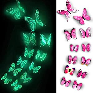 Butterfly Decals, Glow in The Dark 3D Butterfly Stickers for Ceiling or Wall Decor, Adhesive 12pcs Butterflies for Kids Bedroom Nursery Living Room,Luminous Create a Realistic Butterflyry Home Garden (Purple) (Purple) (Pink)