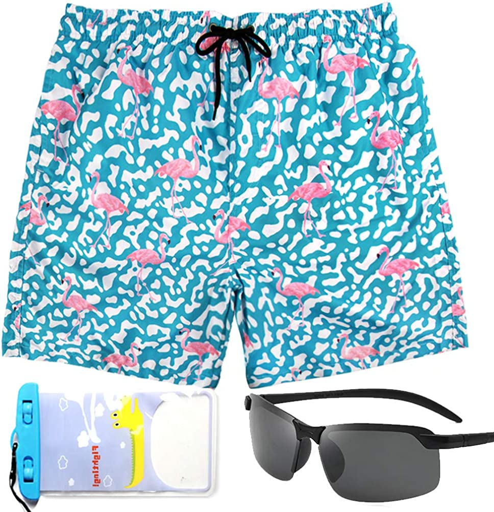 Flamingo Mens Swim Trunks,Swim Trunks with Mesh Liner and Pockets,Mens Travel Accessories
