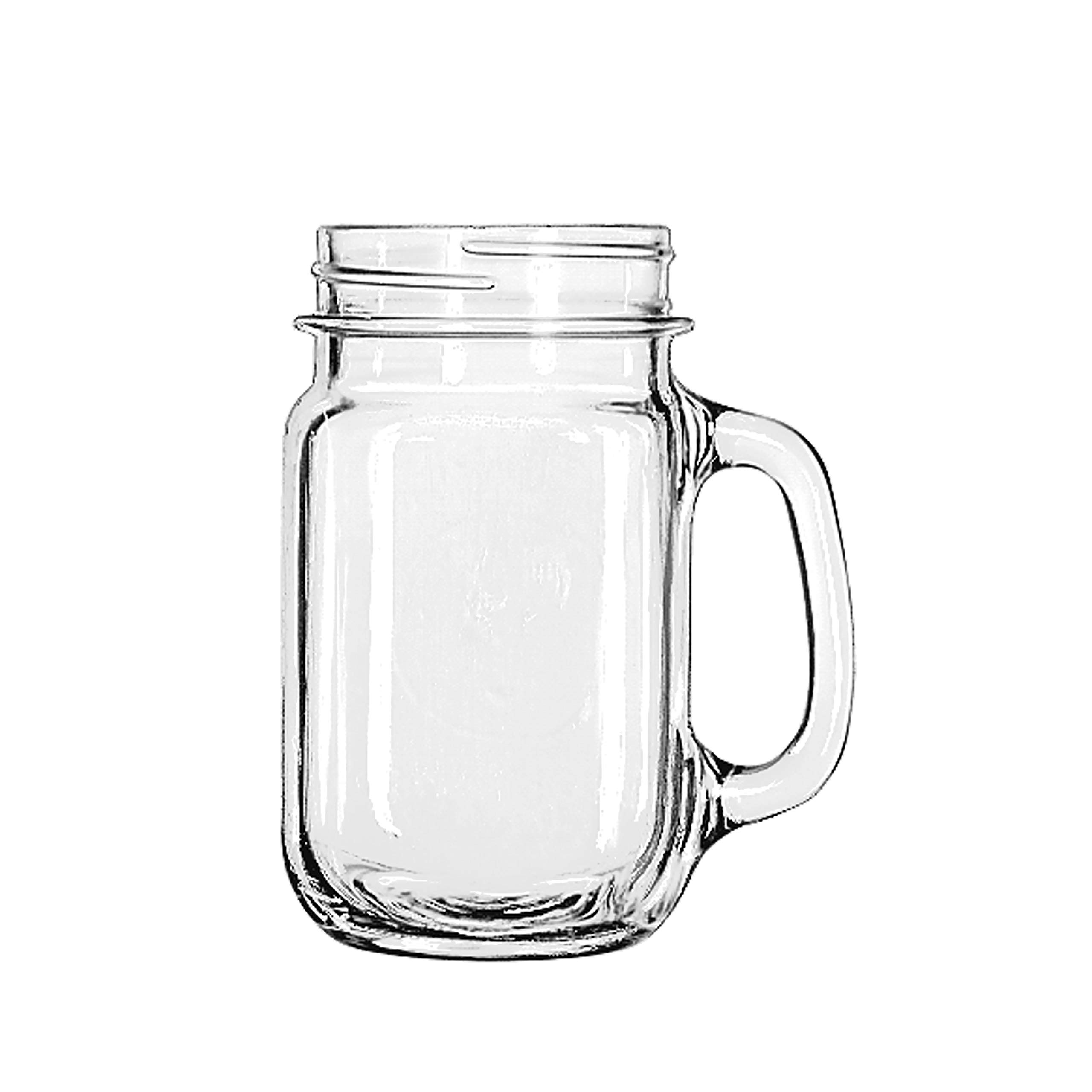Libbey Drinking Mason Jar with Handle, 16 -Ounce, Set of 12