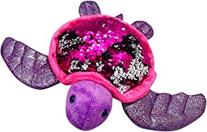 Sequinimals Sequin Sea Turtle Plush Stuffed Animal Reversible Sequins Hot Pink & Silver