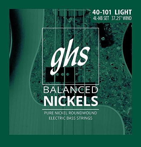 GHS Cuerdas 4l-nb equilibrado Nickels 4-bass cuerdas para guitarra ...