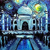 Taj Mahal Art PRINT - Starry Night India - van Gogh Never Saw The Taj Mahal - Art by Aja 8x8, 10x10, 12x12, 20x20, 24x24 inch sizes, choose