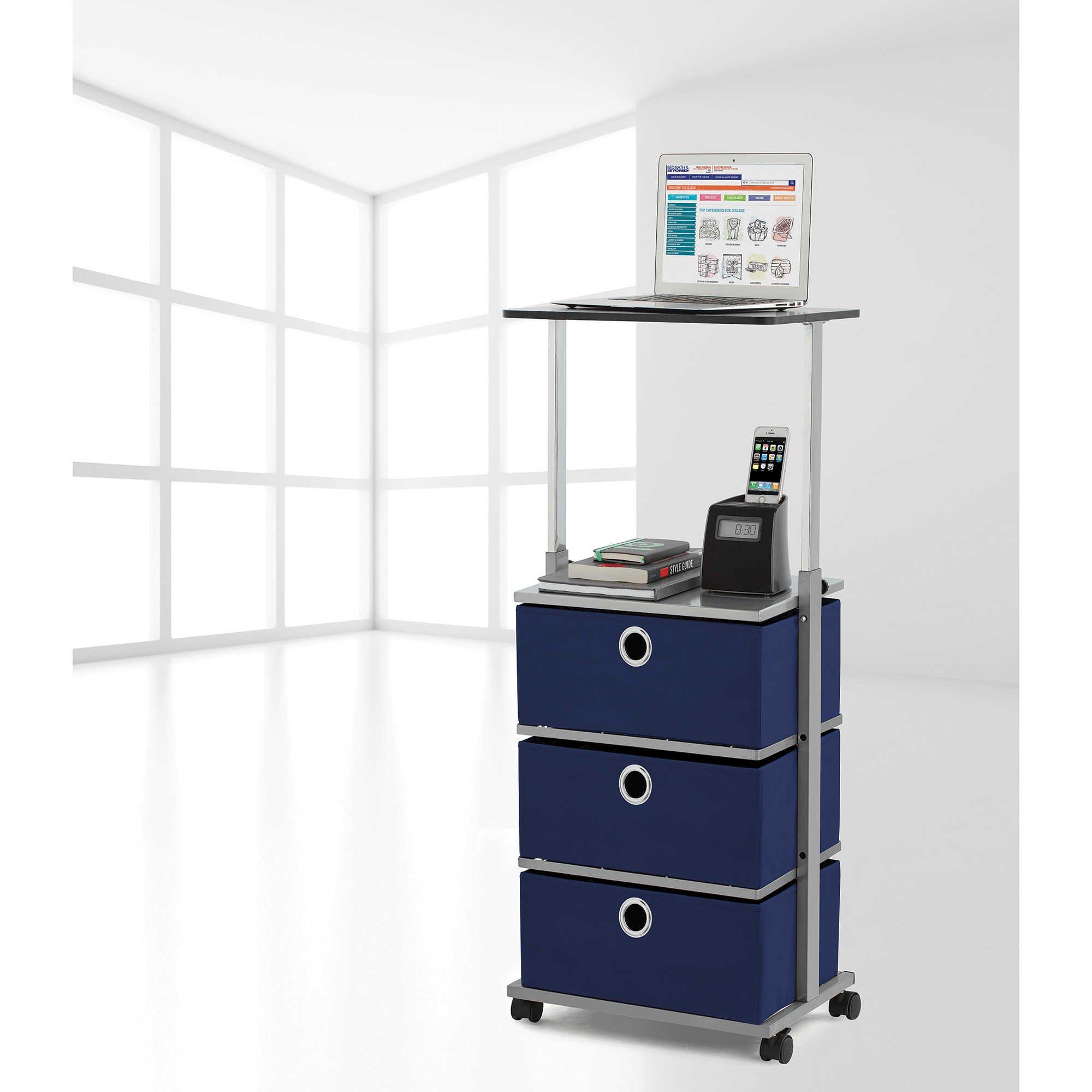 Studio 3B 3-Soft Fabric Bin Drawer Adjustable Top Shelf Steel Frame Storage Utility Cart in Blue with 4 Caster Wheels