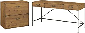 Bush Furniture kathy ireland Home Ironworks Writing Desk with Lateral File Cabinet, 60W, Vintage Golden Pine