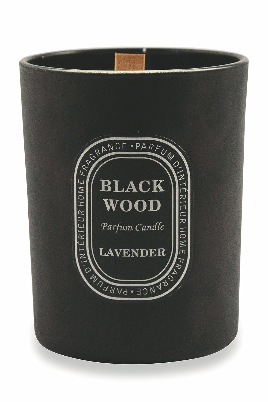 Galileo Casa Black Wood Duftkerze, Wachs/Glas, Schwarz, 12.5x 12.5x 10cm