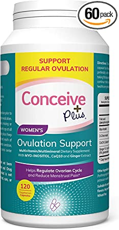 CONCEIVE PLUS Myo-Inositol & D-Chiro Inositol   30-Day Supply   Optimal 40:1 Ratio   Folic Acid   PCOS   Healthy Hormone Balance & Ovarian Support for Women Supplement (120 Capsules)