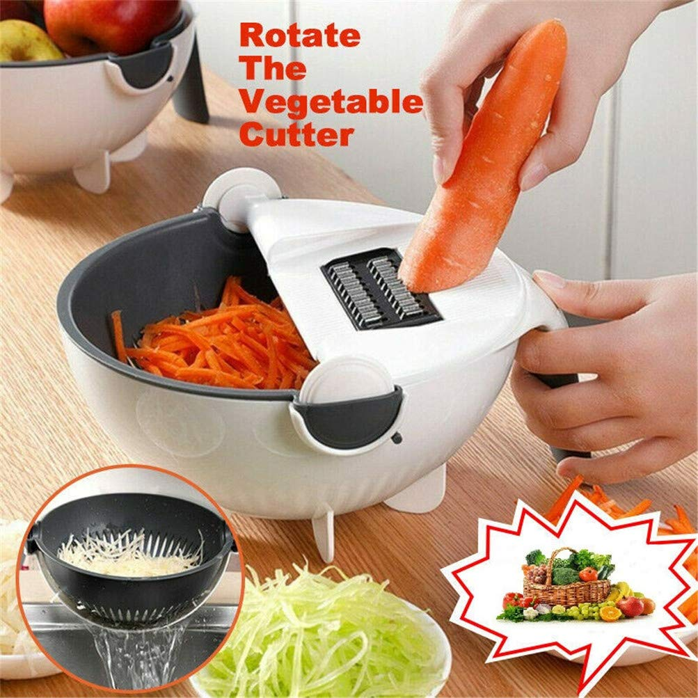 9 IN 1 Magic Rotate The Vegetable Cutter, Portable Multifunction Vegetable Fruit Cutter Chopper Grater Unique Drainage Kitchen Tool by RGCLQ
