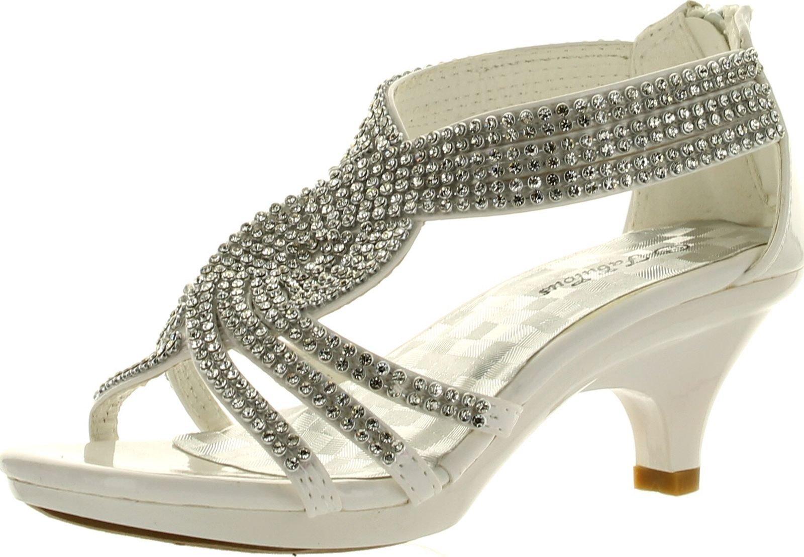 JJF Shoes Angel-37 Kids White Little Girls Bling Rhinestone Platform Dress Heels Sandals-13