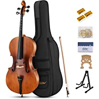 Eastar EVC-1 4/4 Acoustic Cello Matt Natural Varnish with Imprinted Finger Guide on Fingerboard for Students Beginners with Cello Stand, Case, Bow, Bridge, Rosin, Extra Set of Strings (Full Size)