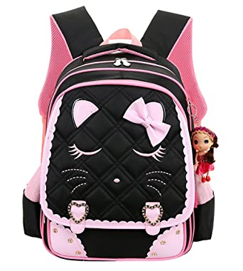 Amazon.com | Cat Face Waterproof Kids Backpack School Bookbag for ...