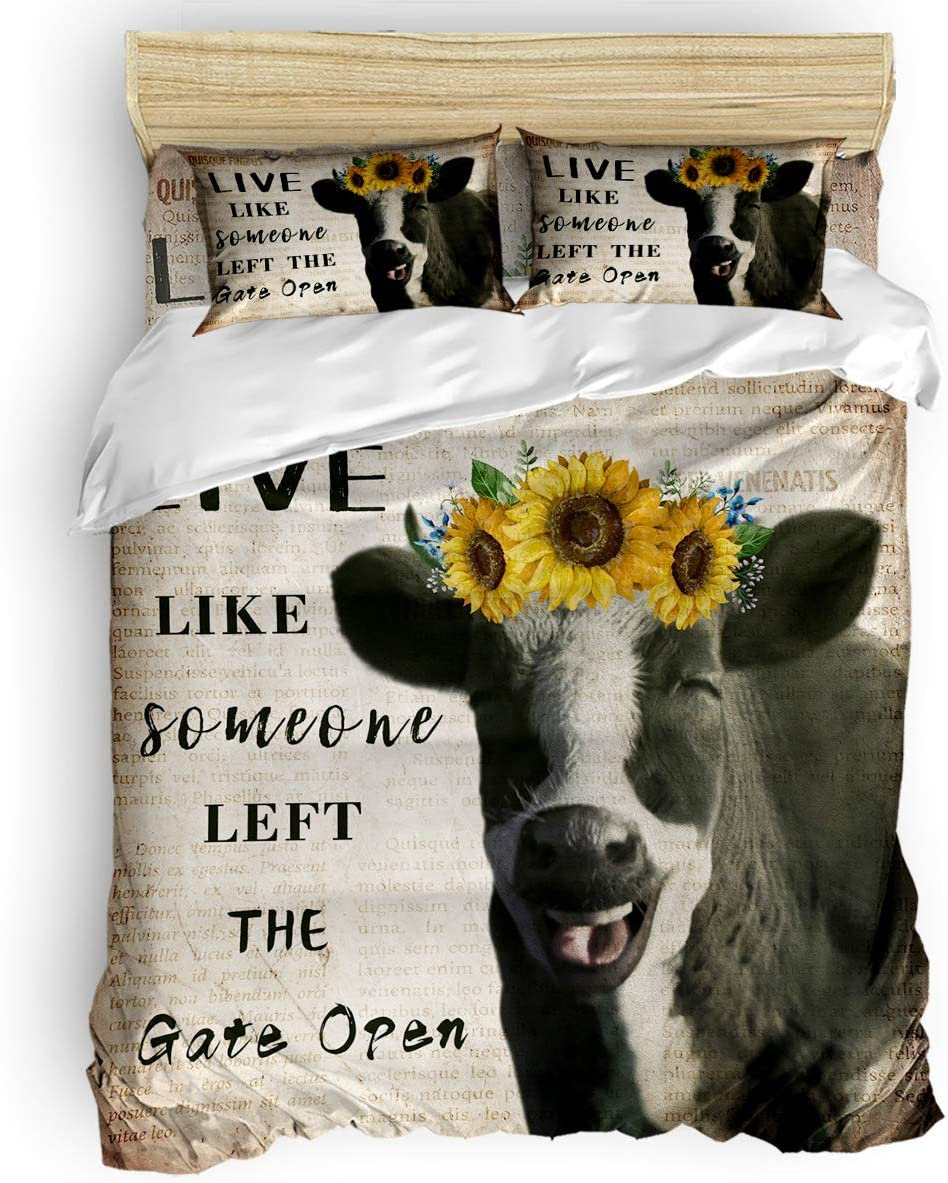 Ultra Soft Microfiber Teen Bedding Set, Retro Old Newspaper Smiling Cow Wears Sunflowers 4 Piece Cal. King Bed Set - 1 Flat Sheet, 1 Quilt Cover, 2 Pillow Cases