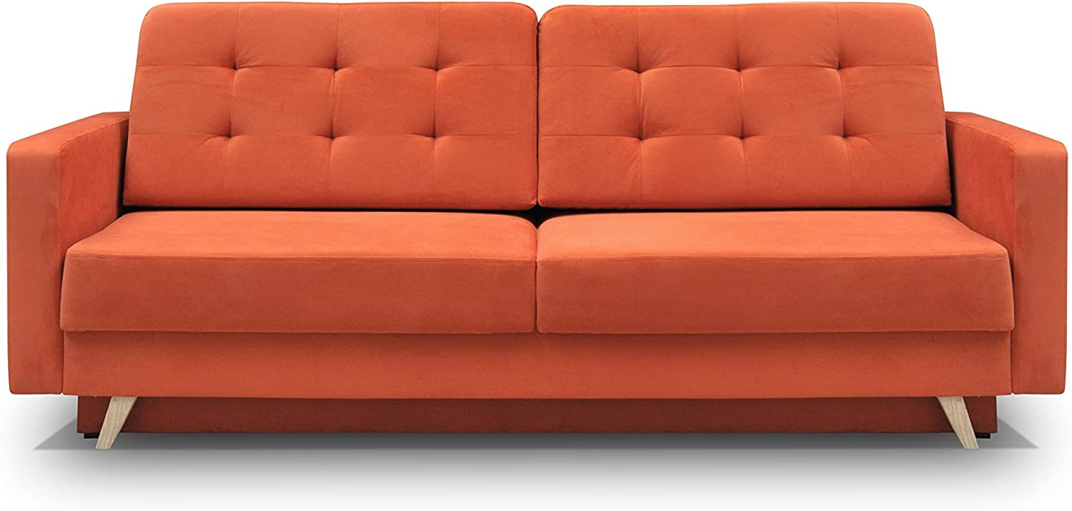 MEBLE FURNITURE RUGS Vegas Futon Sofa Bed, Queen Sleeper with Storage, Orange