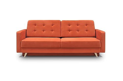 MEBLE FURNITURE RUGS Vegas Futon Sofa Bed, Queen Sleeper with Storage, Orange