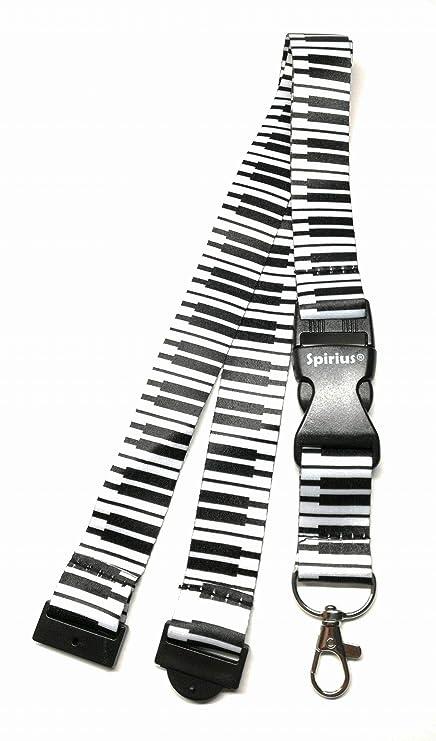 Correa para el cuello SpiriuS con clip de metal resistente para soportes de tarjetas de identificación y llavero, color White Keyboard