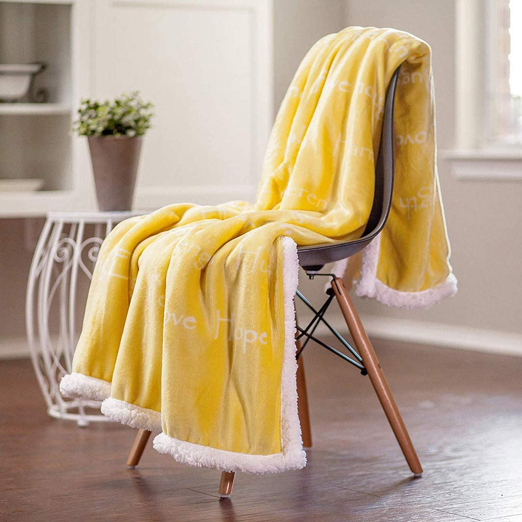 66x50 Inch, Yellow Transser Large Soft Warm Flannel Throw Blanket Luxurious Positive Energy Cure Cozy Double Plush Sofa Couch Bed Microfiber Throw Rug for Sleeping Nap