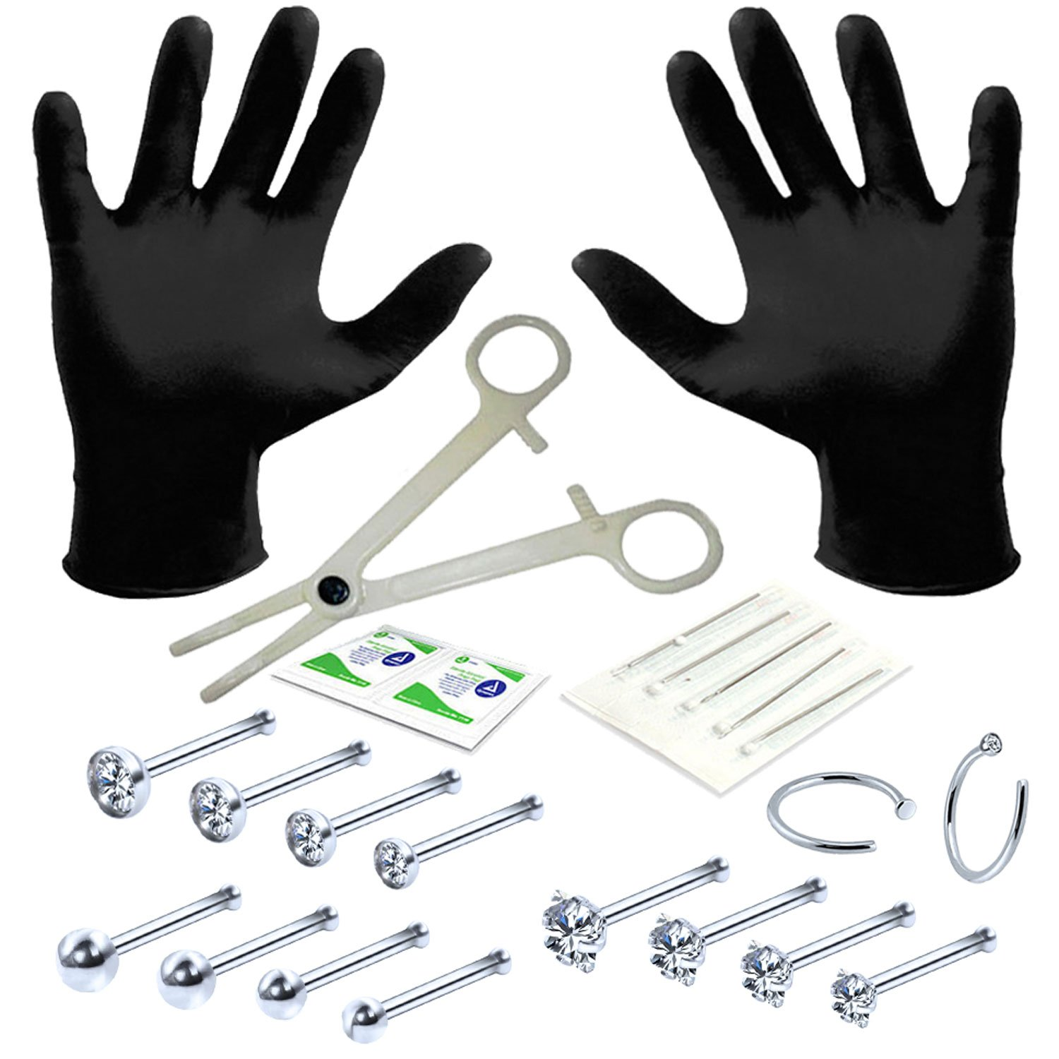 BodyJ4You Professional Body Piercing Kit 22 Pieces for Nose Ring Bone Studs 20 Gauges 0.8mm