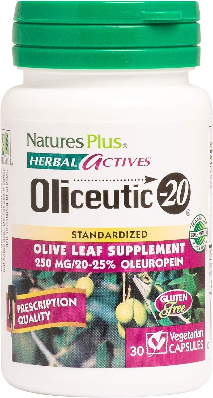 NaturesPlus Herbal Actives Oliceutic - 20-250 mg Oleo Europa, 30 Vegan Capsules - 30 Servings