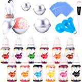 Bath Bomb Mold Set with Soap Dye Bath Bomb Kit Soap Colorant for Bath Bomb Making Supplies with(12 Colorants; 8 Molds ; 50 Shrink Wrap Bags; 3 Spoons; 1 Brush)