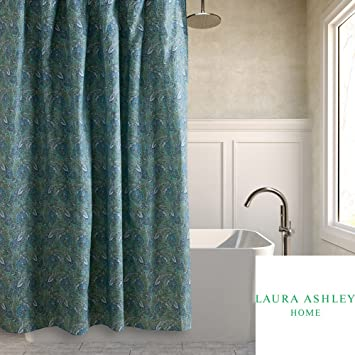 Laura Ashley Brentford Paisley Fabric Shower Curtain In Shades Of Aqua Blue Purple