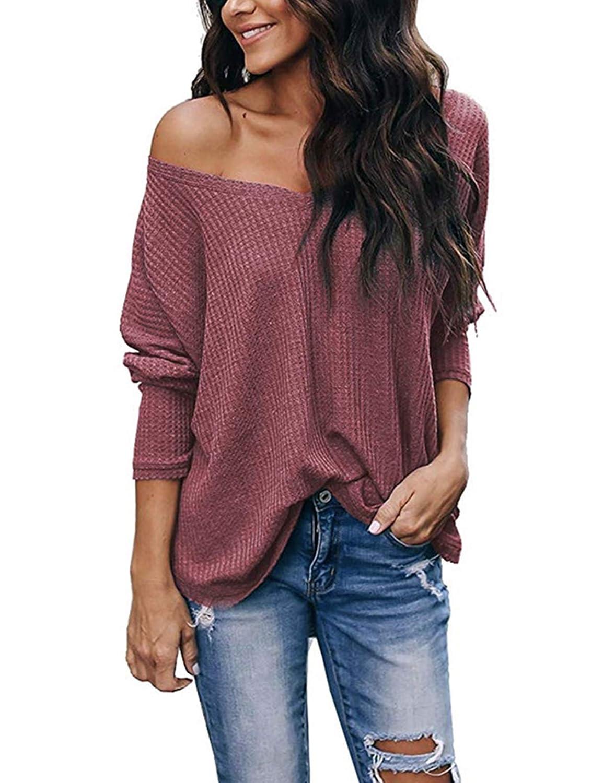 SIMPFIT Womens V Neck Tunic Blouse Henley Shirts Waffle Knit Casual Loose Plain Pullover Plain Shirts