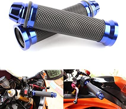 "7//8/"" 22mm CNC Handle Bar Motorcycle Hand Grips Silver Universal Fit for Honda"