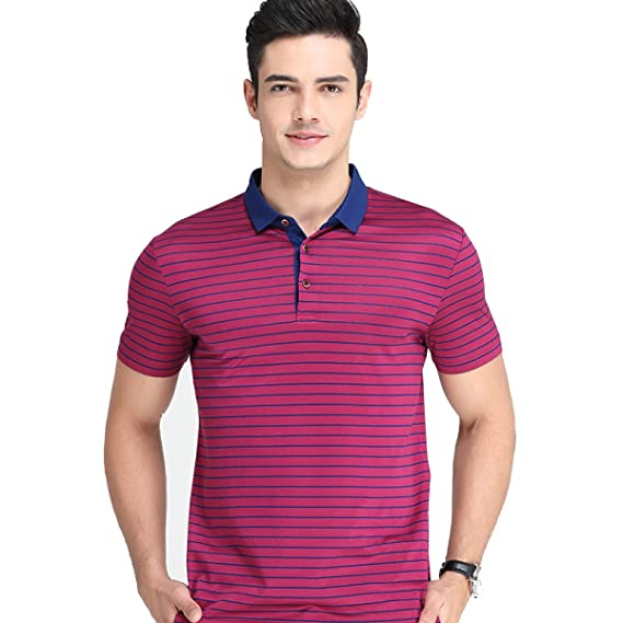 1099d75a4b7a93 HGDR Men s Polo T-Shirt Short Sleeve Cotton Stripe Golf Tennis Business  Casual T-Shirt Sports Work  Amazon.co.uk  Clothing