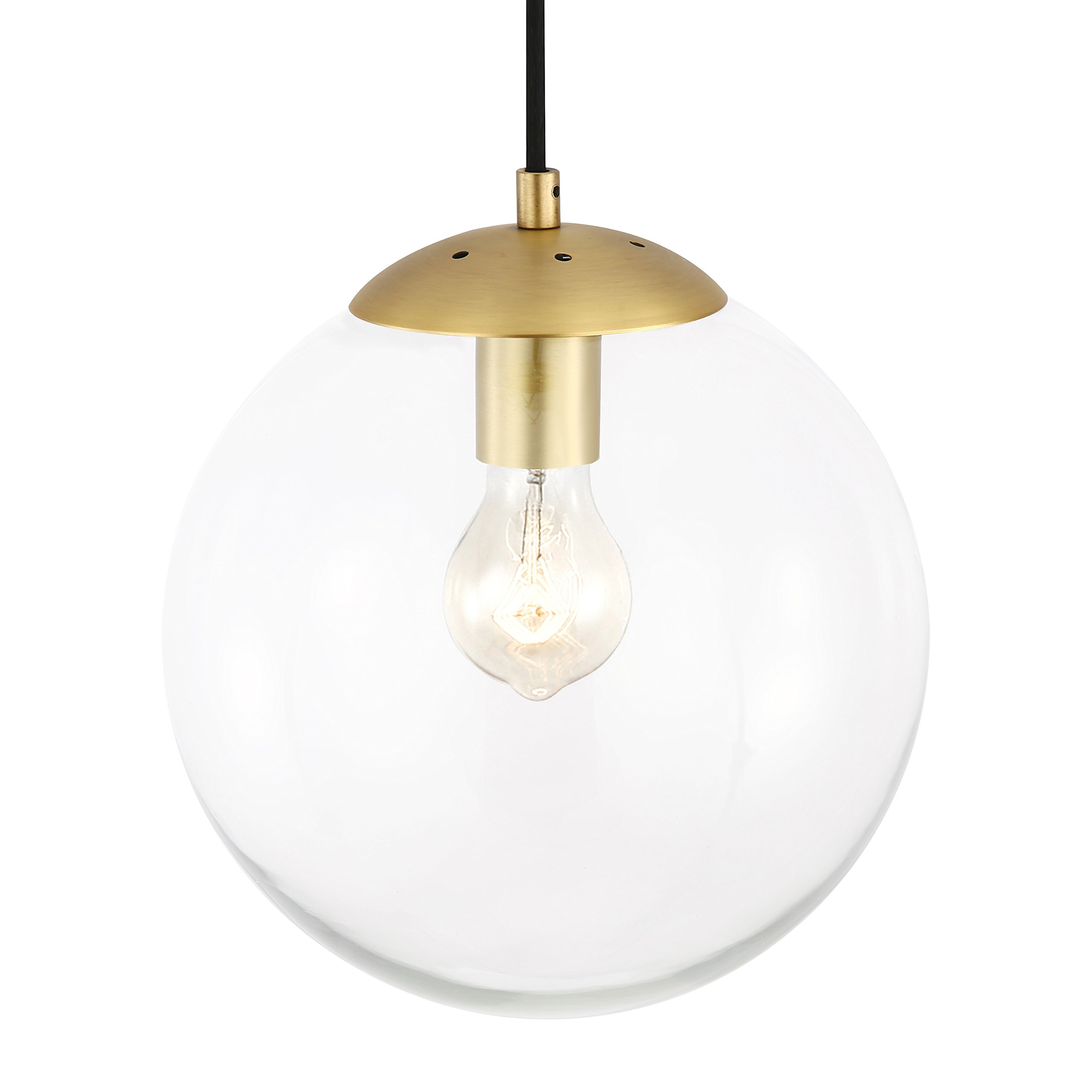Light Society Tesler Globe Pendant, Clear Glass with Brass Finish, Contemporary Mid Century Modern Style Lighting Fixture (LS-C175-BRS-CLR)