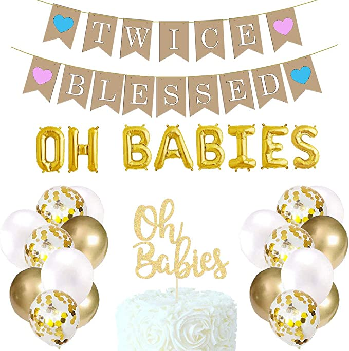 Twice Blessed GOLD Glitter Banner For Twins Baby Shower Pregnancy Announcement G