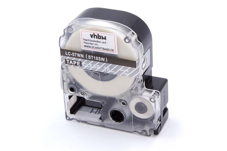 vhbw Cartouche Cassette à Ruban 18mm pour Epson LW-700, LW-400, LW-500, LW-900P, OK200, OK300, OK500P, OK720, OK900P comme LC-5TWN, ST18SW. VHBW4251258817896