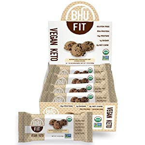 BHU Fit Protein Bar, Chocolate Chip Cookie Dough - Organic, Vegan & Keto-friendly Snack - Clean Ingredients which are Low Carb & Low Sugar, Grain & Gluten free, Dairy-free & Non-GMO (12 pack)