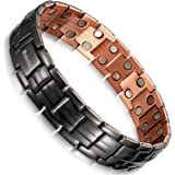 Rainso Mens Gun Black Copper Double Row Magnetic Therapy Bracelets for Arthritis Wristband Adjustable
