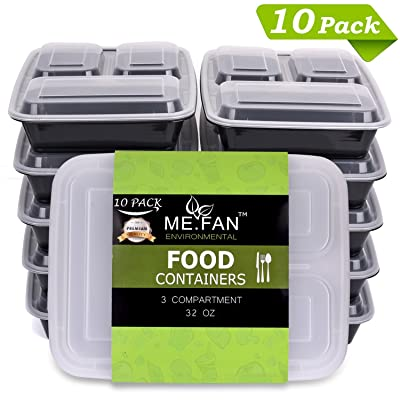 ME.FAN [10 Pack] 3-Compartments Meal Prep Containers with Lids Set