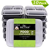 Amazon Price History for:ME.FAN [10 Pack] 3-Compartments Meal Prep Containers with Lids Set - BPA FREE Stackable Durable & Reusable, Freezer, Microwave & Dishwasher Safe Bento Lunch Box - Portion Control Plates [32 Oz.]