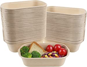 JAYEEY 23OZ Disposable bowls, Compostable Fiber Food Container, Food Storage, Biodegradable Bagasse Microwave Safe 50 PACK