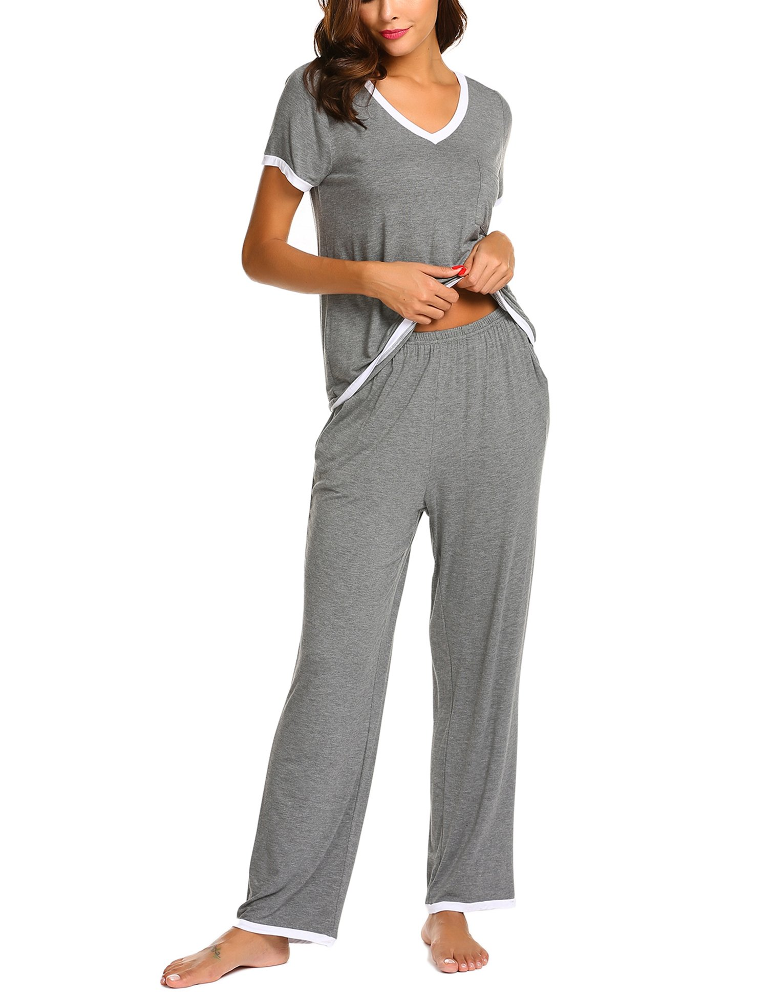 Ekouaer Women Pajamas Set V-Neck Short Sleeve Top and Elastic Waist Long Pants Lounge Sleepwear (Gray XL) by Ekouaer (Image #4)