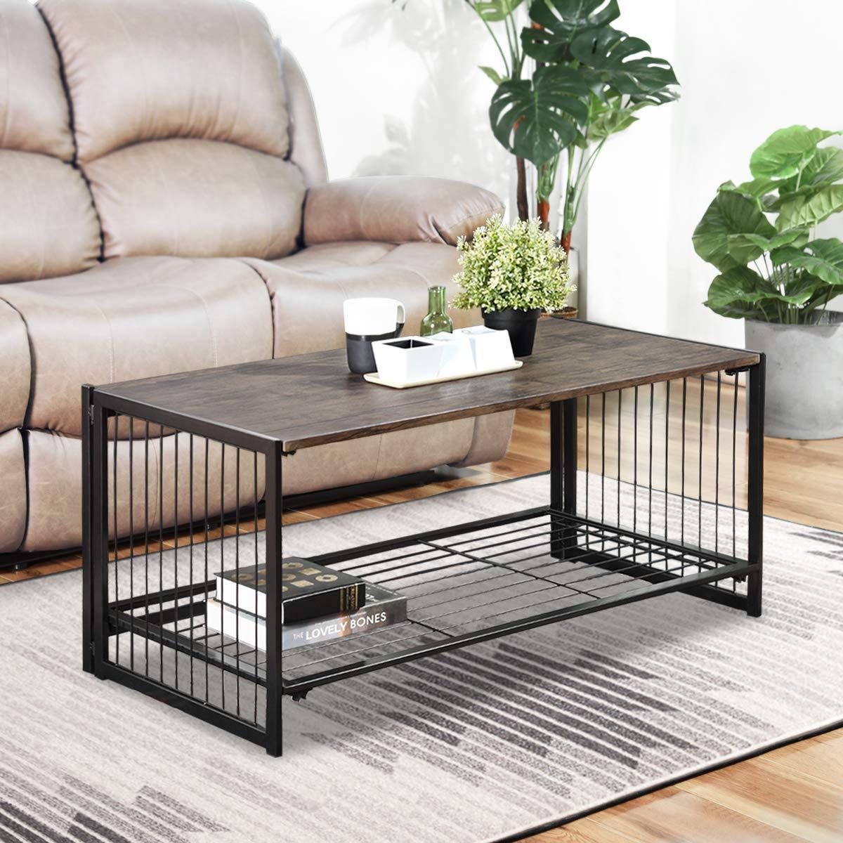 Couchtisch klappbar-Kaffeetisch Beistelltisch modern Fernsehtisch Wohnzimmertisch industriell Design Keine-Montage Rustikal Schwarz Metall Braun Holz