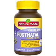 Nature Made Postnatal + DHA Softgels, 60 Count, Support for Breastfeeding Moms† (Packaging May Vary)