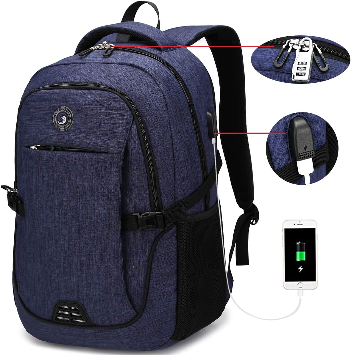 SOLDIERKNIFE Durable Waterproof Anti Theft Laptop Backpack Travel Backpacks Bookbag with usb Charging Port for Women & Men School College Students Backpack Fits 15.6 Inch Laptop Royal Blue