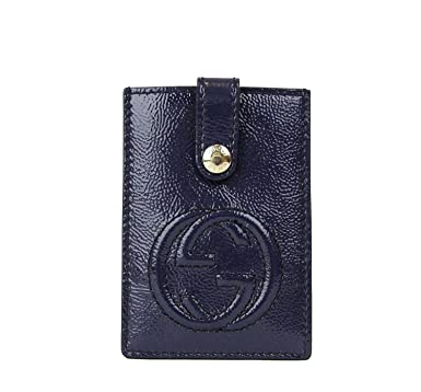 759f7e43022fee Gucci Women's Soho Blue Patent Leather Card Case Pouch 338331 4233 ...