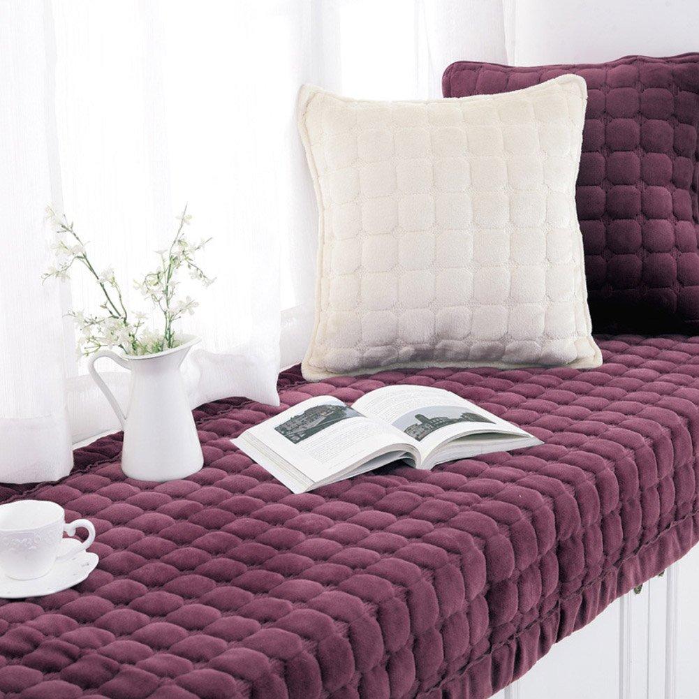Bay window cushion,Window sill cushion modern floating window pad window bench mat sofa mat rug plush bay window cushion blanket non-slip mat for living room bedroom-A 50x135cm(20x53inch) NVJFNHGVBFYJGBV