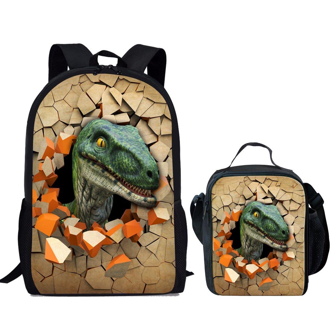 Showudesigns Cool Dinosaur Bookbag School Backpack and Lunch Bag for Boys Kids Elementary