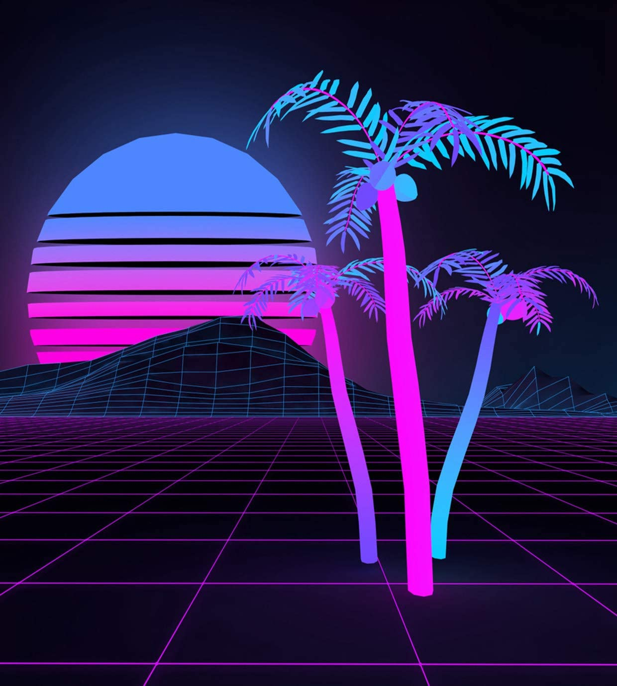 Eaiizer Alien Poster 80'S Retro Futuristic Landscape Light Grid Surface and Palms Against Wall Art Print Artwork for Home Bedroom Office Dorm Decor Unframed Painting 24x36 Inches