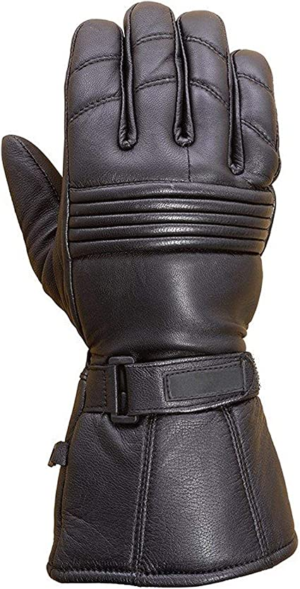 Z1R Mens Black 938 Deerskin Leather Thinsulated Motorcycle Gloves Choose Size